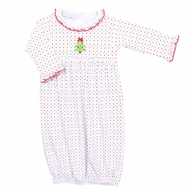 Magnolia Baby Girls O Christmas Tree Red / Green Dots Gown - Ruffle Neck
