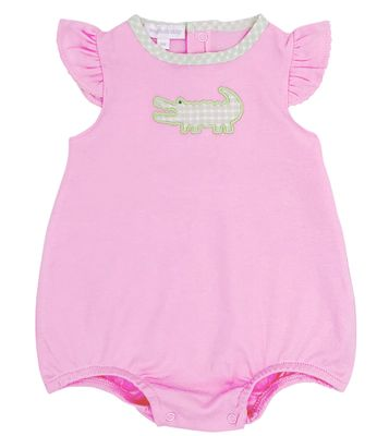 Magnolia Baby Girls Pink Oh Snap! Applique Alligator Bubble