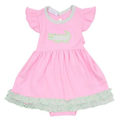 Magnolia Baby Girls Oh Snap! Applique Alligator Pink Dress Set