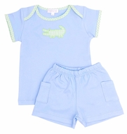 Magnolia Baby Boys Blue Oh Snap Applique Alligator Short Set