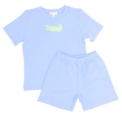 Magnolia Baby Little Boys Blue Oh Snap Applique Alligator Short Set