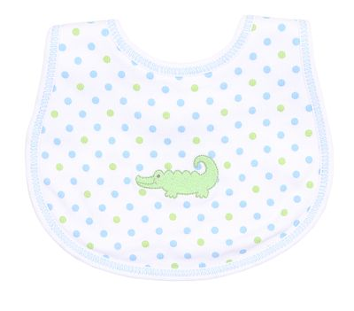 Magnolia Baby Blue / Green Dots Oh Snap! Embroidered Alligator Bib - Blue