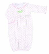 Magnolia Baby Girls Oh Snap! Pink / Green Dots Alligator Ruffle Gown