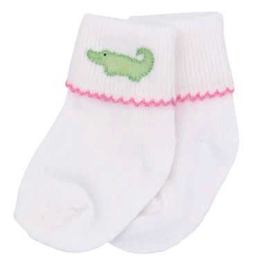 Magnolia Baby Girls Oh Snap! Embroidered Alligator Sock - Pink Trim