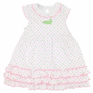 Magnolia Baby Little Girls Oh Snap! Alligator Dress - Pink / Green Dots