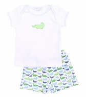 Magnolia Baby Boys Oh Snap! Green / Blue Alligators Print Short Set