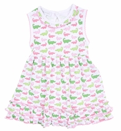 Magnolia Baby Girls Oh Snap! Pink / Green Alligators Print Sleeveless Dress Set