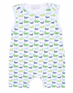 Magnolia Baby Boys Oh Snap! Green / Blue Alligators Print Sleeveless Romper Playsuit