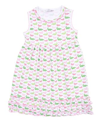 Magnolia Baby Little Girls Oh Snap! Pink / Green Alligators Print Sleeveless Dress