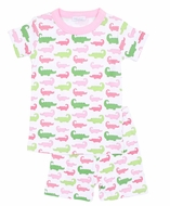 Magnolia Baby Little Girls Oh Snap! Short Pajamas - Pink / Green Alligators