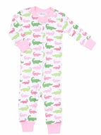 Magnolia Baby / Toddler Girls Oh Snap! Zipped Pajamas - Pink / Green Alligators