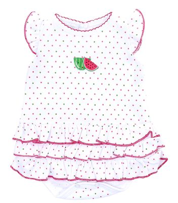Magnolia Baby Girls Pink One in a Melon Watermelon Flutters Ruffle Bubble