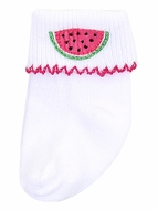 Magnolia Baby Girls One in a Melon Pink Watermelon Socks