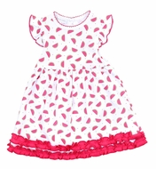 Magnolia Baby Girls Pink One in a Melon Watermelon Printed Ruffle Dress Set