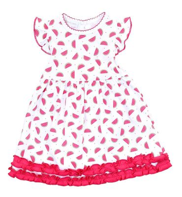 Magnolia Baby Little Girls Pink One in a Melon Watermelon Printed Ruffle Dress