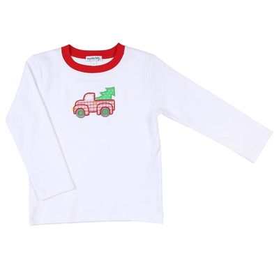 Magnolia Baby Little Boys Truck & Our Christmas Tree Applique T-Shirt