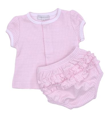 Magnolia Baby Girls Paige and Porter's Classics Ruffle Diaper Set - Pink Check