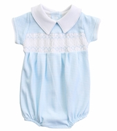 Magnolia Baby Boys Paige and Porter's Classics Smocked Collared Bubble - Blue Check