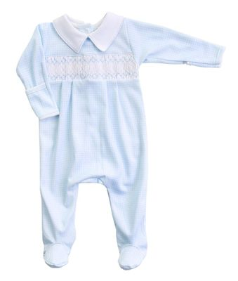 Magnolia Baby Boys Paige and Porter's Classics Smocked Collared Footie - Blue Check