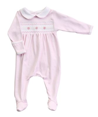 Magnolia Baby Girls Paige and Porter's Classics Smocked Collared Footie - Pink Check