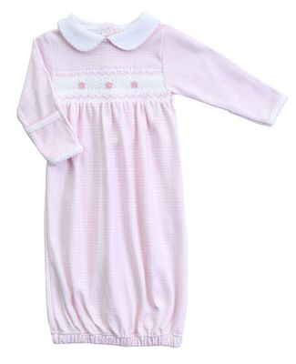 Magnolia Baby Girls Paige and Porter's Classics Smocked Collared Gown - Pink Check