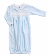 Magnolia Baby Boys Paige and Porter's Classics Smocked Collared Gown - Blue Check
