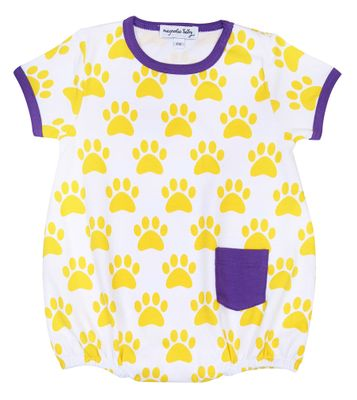 Magnolia Baby Boys Paw Print Printed Bubble - LSU Yellow