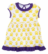 Magnolia Baby Girls LSU Yellow Paw Print Printed Dress Set