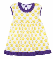 Magnolia Baby Little Girls LSU Yellow Paw Print Printed Dress