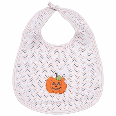 Magnolia Baby Girls / Boys Peek a Boo Halloween Pumpkin Applique Bib