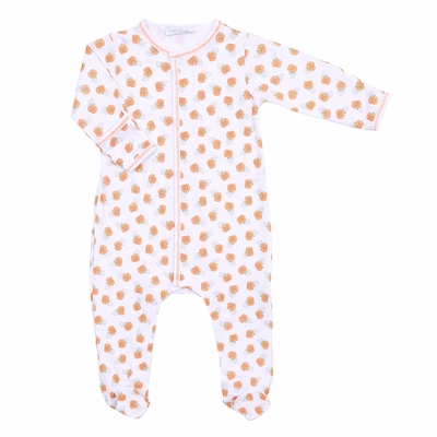 Magnolia Baby Boys / Girls Orange Peek a Boo Halloween Pumpkins Footie