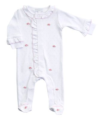 Magnolia Baby Girls Piper's Garden Embroidered Ruffle Footie - White