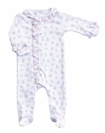 Magnolia Baby Girls Pink Piper's Garden Ruffle Footie - Floral Print