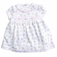 Magnolia Baby Girls Pink / Green Floral Piper's Garden Smocked Dress Set