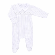 Magnolia Baby Boys / Girls Polka Dot Smock Smocked Collared Footie - Silver