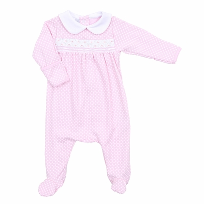 Magnolia Baby Girls Polka Dot Smock Smocked Collared Footie - Pink