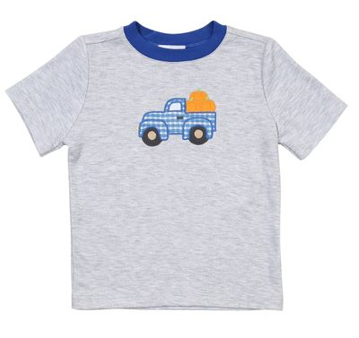Magnolia Baby Little Boys Pumpkin Picking Truck Applique Shirt