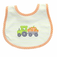 Magnolia Baby Boys Green Pumpkin Tractor Applique Bib