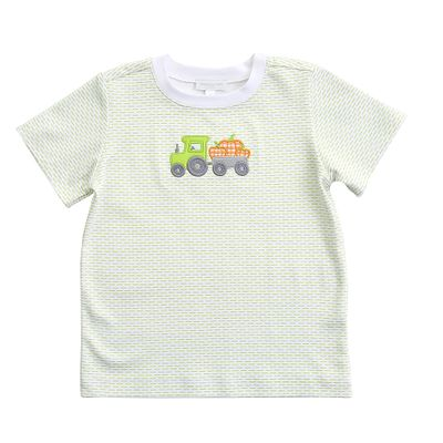 Magnolia Baby Toddler Boys Green Pumpkin Tractor Applique Shirt