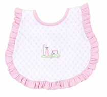 Magnolia Baby Girls Putting Around Golf Ruffle Bib - Pink