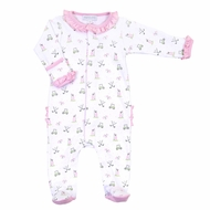 Magnolia Baby Girls Pink Putting Around Printed Golf Ruffle Footie