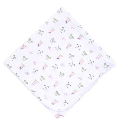 Magnolia Baby Girls Putting Around Printed Golf Swaddle Blanket - Pink