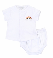 Magnolia Baby Boys / Girls White Rainbow Diaper Set
