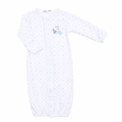 Magnolia Baby Boys Safari Baby Animals Embroidered Converter Gown - Blue