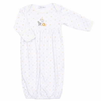 Magnolia Baby Girls / Boys Unisex Safari Baby Animals Embroidered Gown - Silver / Yellow