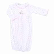 Magnolia Baby Girls Safari Baby Animals Embroidered Ruffle Gown - Pink
