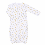 Magnolia Baby Boys / Girls Unisex Safari Baby Animals Print Converter Gown - Silver / Yellow