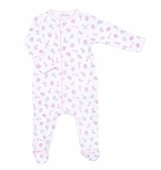 Magnolia Baby Girls Safari Baby Animals Print Ruffle Footie - Pink