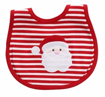 Magnolia Baby Boys / Girls Red Stripe Santa Applique Bib