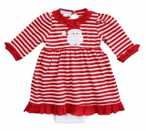 Magnolia Baby Girls Red Striped Santa Applique Dress Set